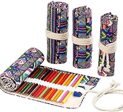 Estuche para lápices enrollable para 36 lápices de colores, bolsas organizadoras, lona, portalápices, fundas enrollables (sin bolígrafo), varios estilos, color Style national: Amazon.es: Oficina y papelería