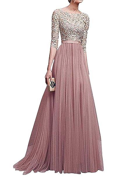 6782de2d1ae4 Minetom Donna Vestito Lungo Abito Da Cerimonia Elegante Vestiti Da  Matrimonio Lunghi Formale Banchetto Sera Maxi Dress Pizzo  Amazon.it   Abbigliamento