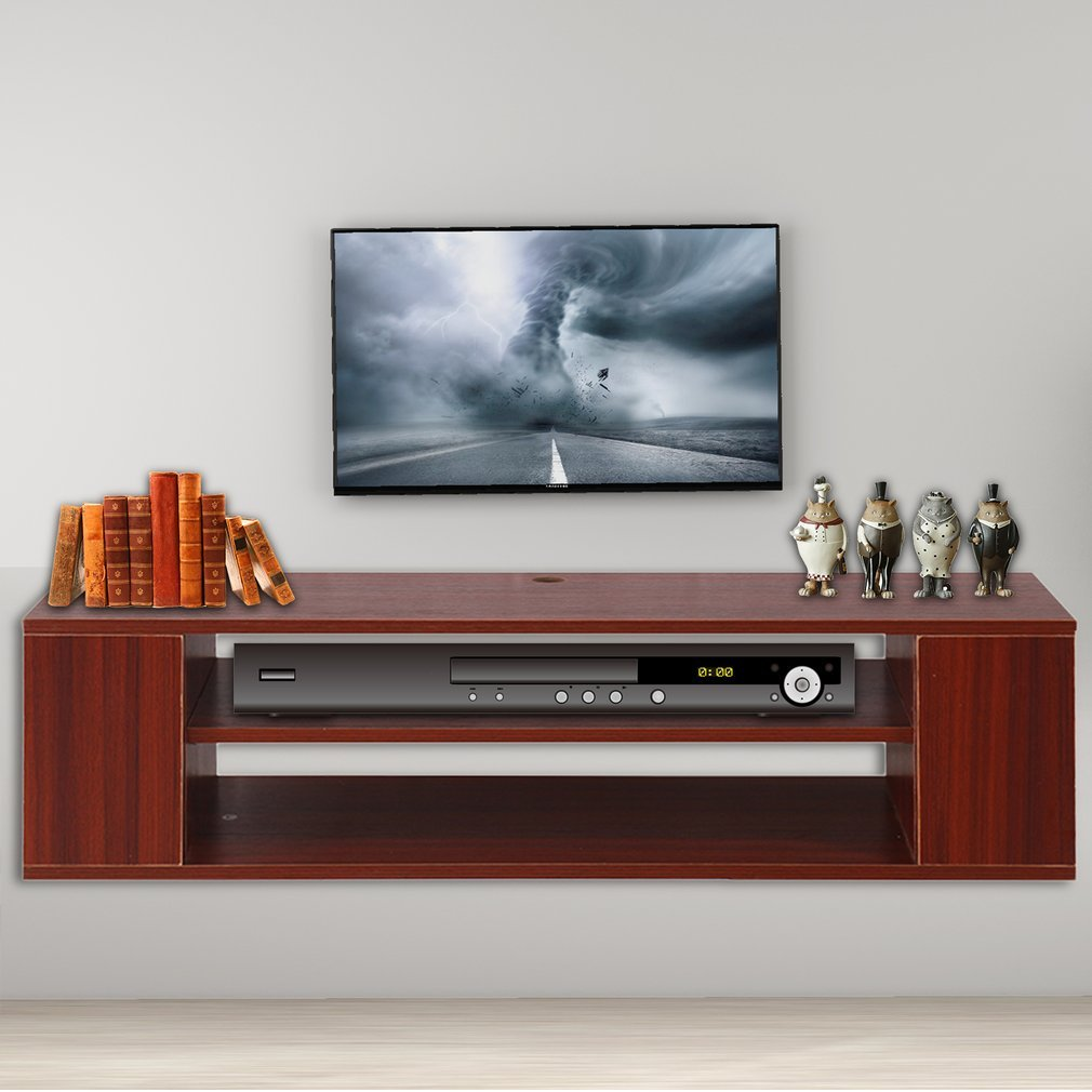 Coldcedar Wood Floating Wall Mount TV Stand by MDF Media Console Modern Storage Cabinet For Various Models TV Home Decoration Furniture (Brown-red, 40'' L x 12'' W x 11'' H)