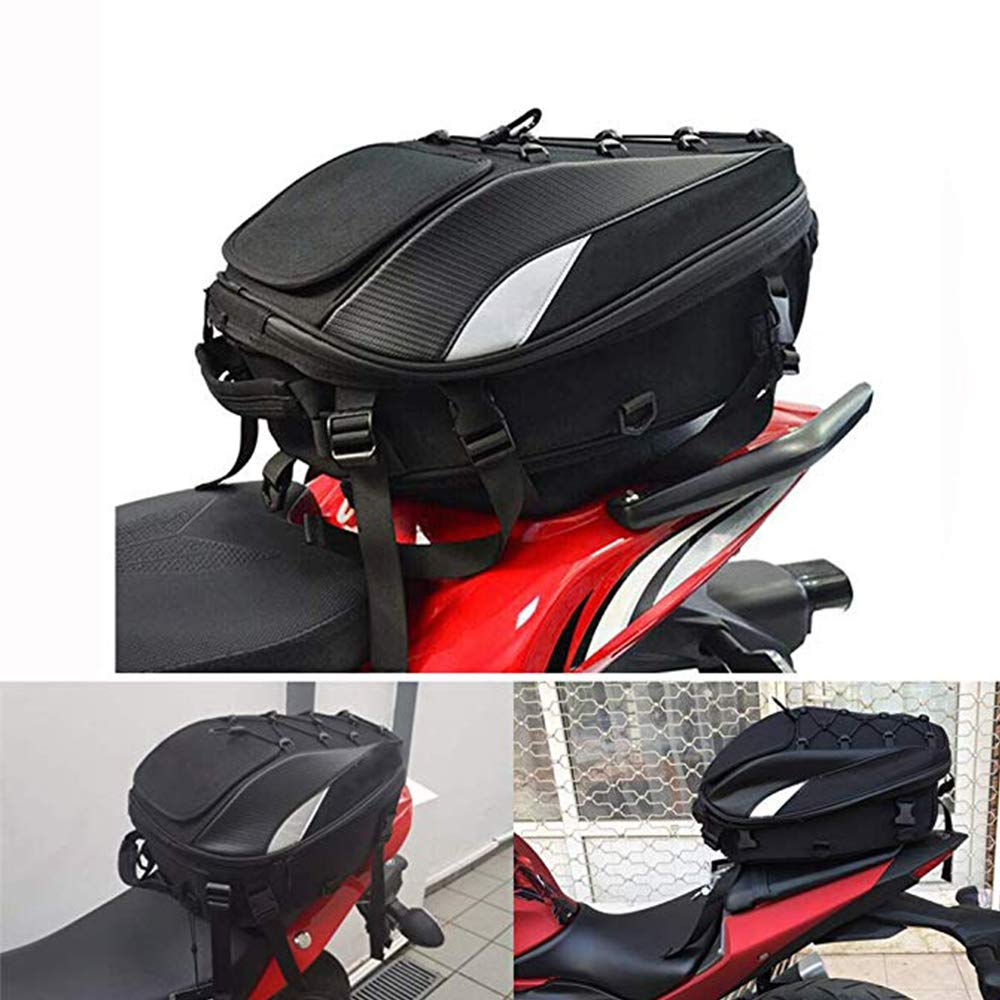 Motorcycle Seat Bag Tail Bag Dual Use Motorcycle Backpack Waterproof Luggage Bags Motorbike Helmet Bag Storage Bags