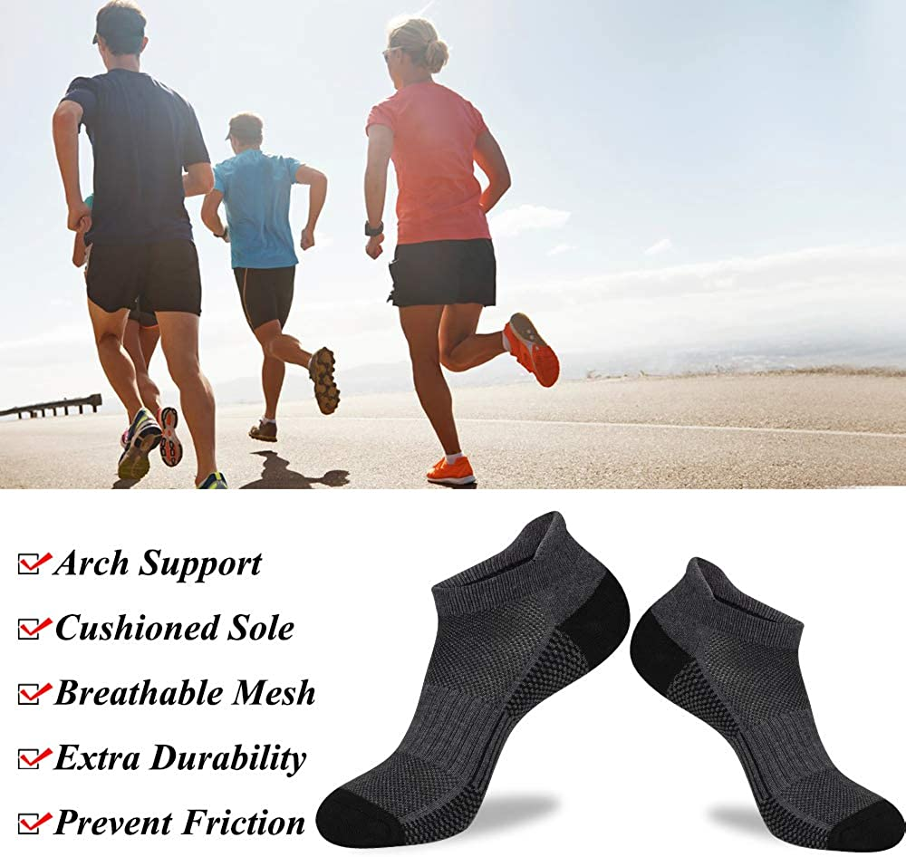 LITERRA Mens Ankle Socks 6 Pack Low Cut Athletic Running Cushioned Tab Socks