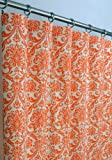 Orange and Beige Damask Drape with Cotton Lining, One Rod Pocket Curtain Panel 120 inches long x 50 inches wide For Sale
