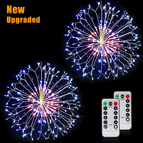 Firework Lights Wire Lights,198 LED DIY 8 Modes Dimmable String Fairy Lights with Remote Control,Waterproof Decorative Hanging Starburst Lights for Christmas, Home, Patio, Indoor Outdoor Decoration (Led For Lights Home Decorative)