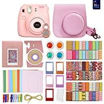 FujiFilm Instax Mini 8 Camera PINK + MiniMate Accessory Bundle. Kit includes: Case, Frames, 64 page Photo Album, Selfie Lens, Colored Filters and more