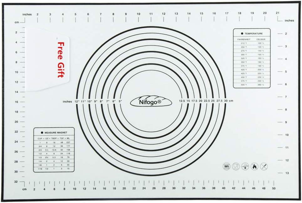Tapete de Silicona para Hornear Baking Mat Grande Antiadherente, Raspador de Regalo, Incluye Medidas, Libre de BPA, para Hacer Fondant Pizza Dough Tarta, 60 x 40 cm (Negro)