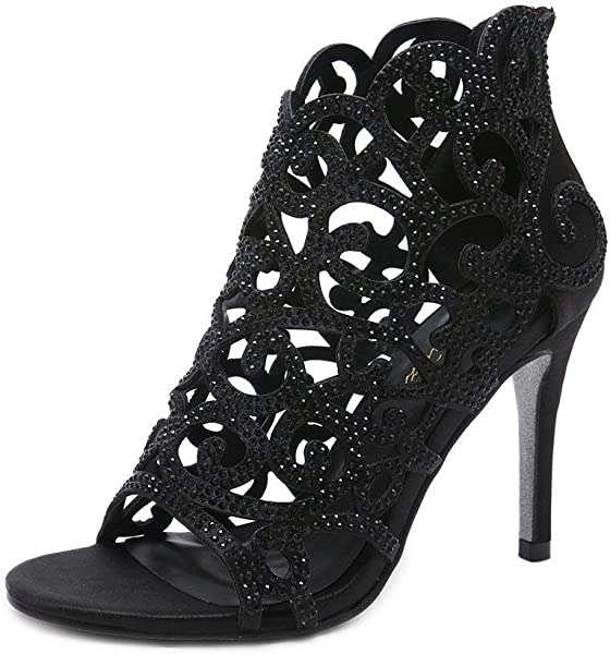 38705f1fdf6 Stupmary Women Pumps Bridal Shoes Crystal High Heels Rhinestone Cut-Outs  Zip Thin Heels Wedding