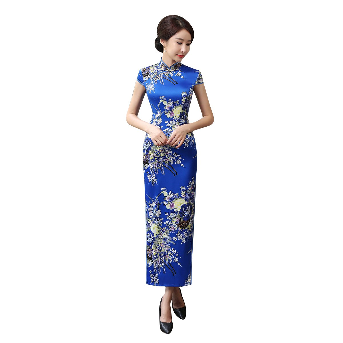 ACVIP Women Cap Sleeve Stand Collar Floral Chinese Maxi Qipao Split Cheongsam (China 3XL/Bust:40.2'')