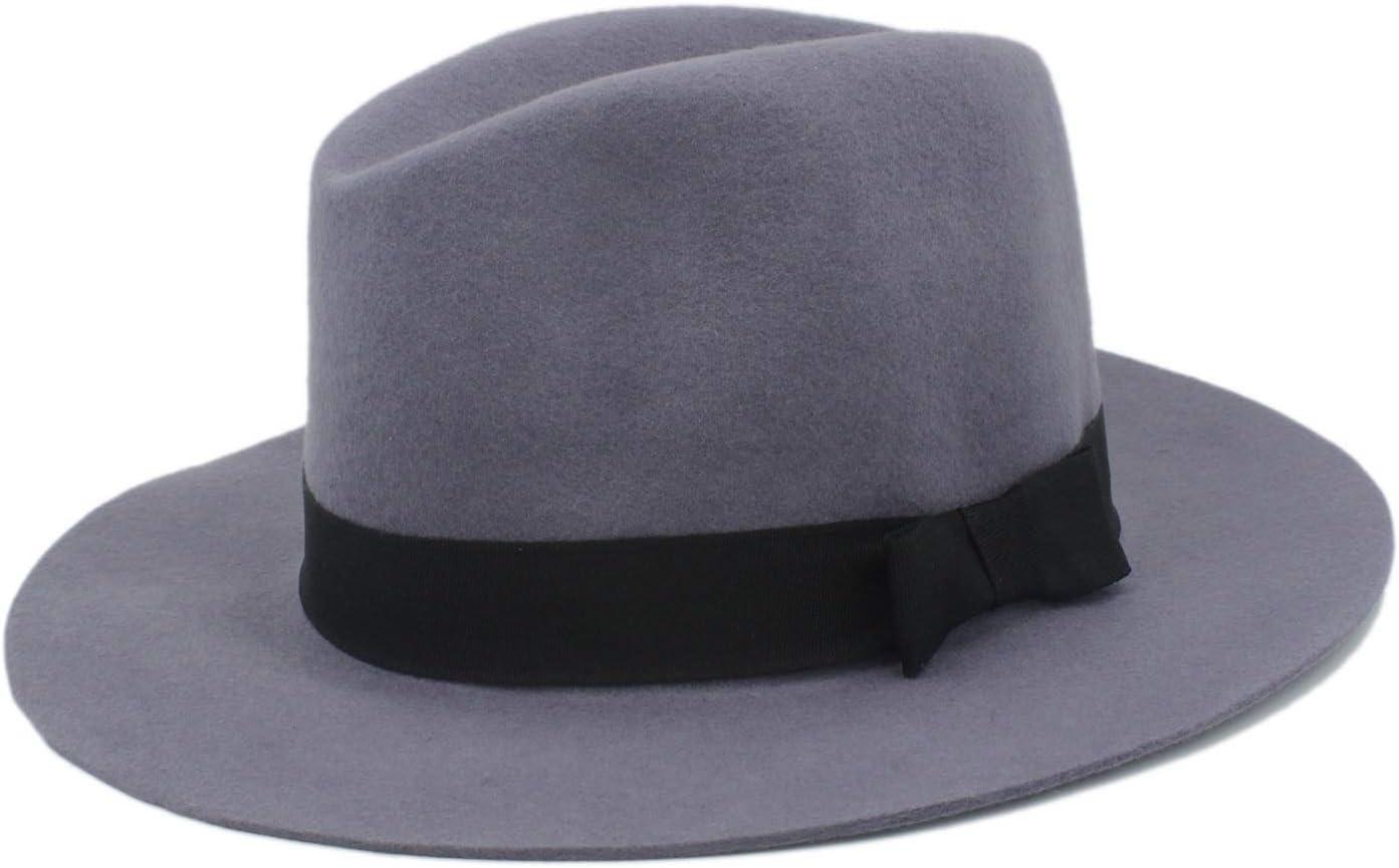 Gorra Sombrero Fedora de lana 100% de ala ancha Fieltro flexible Trilby Bowknot Sombrero de iglesia Elegante Mujer Hombre Invierno Sombrero de otoño Sombrero (Color : Gris, Size : 56-58CM)