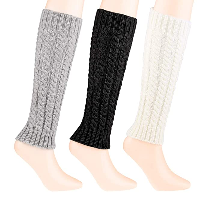 a8038bbc707 Quacoww 3 Pairs Women Leg Warmers Knit Leg Warmers Winter Leg Socks ...