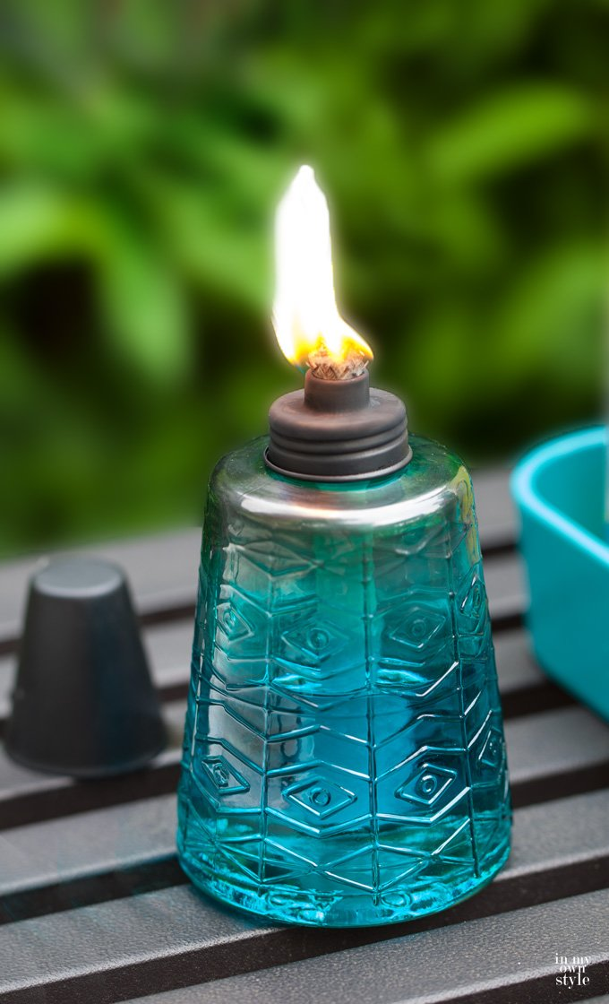 TIKI 6-Inch Molded Glass Table Torch, Red, Green & Blue (Set of 3) by Tiki (Image #5)