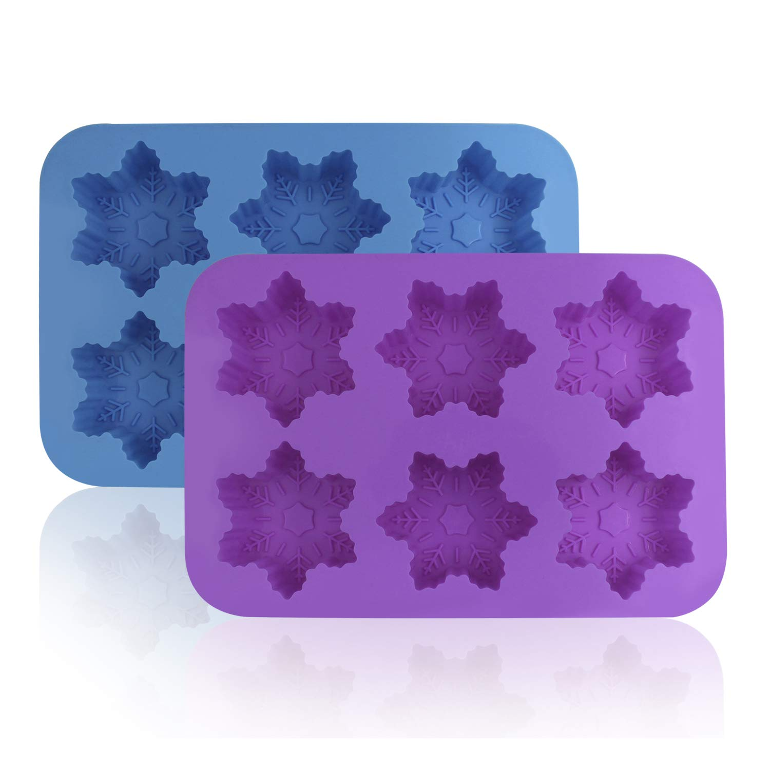 Silicone Snowflake Molds, FineGood 2 Pack Cake Pans Cookie Trays Handmade Soap Making Moulds, Also for Chocolate Pudding Jelly Muffin Cups Kitchen Baking Decoration, 6-Cavity - Blue, Purple 4336903014