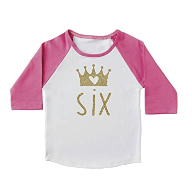6th Birthday Girl Outfit 6 Year Old Shirt Pink And Gold Princess