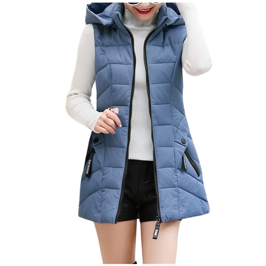Gergeos Women's Long Puffer Vest Plus Size Lightweight Sleeveless Winter Hooded Outerwear with Pockets(Sky Blue,XXXL) by Gergeos