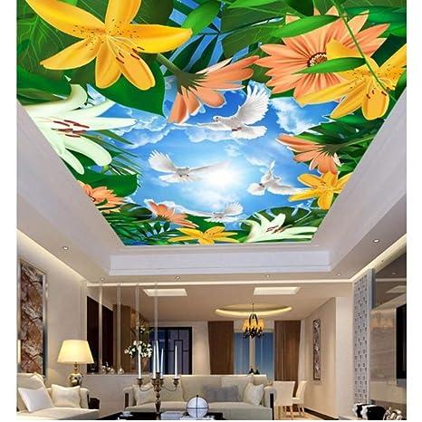 Amazon Com Pbldb 3d Ceiling Murals Wallpaper Plant Flowers Blue