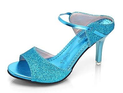 Easemax Damen Elegant Peep Toe Plateau Keilabsatz Schnalle Pumps Sandalen Blau 35 EU dCWyeSK4OS