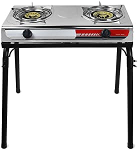 Gas Gasoline lpg Stainless Stove With Stand Dual Burners Cook Stand Portable Piezo Starter