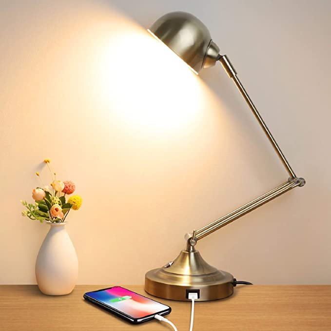 Led Desk Lamp With Usb Charging Port Swing Arm Fully Dimmable 3 Color Modes Eye Caring Task Lamp Touch Control Brass Metal Architect Drafting Table Lamp For Bedside Office Work Reading Memory Home Kitchen Amazon Com