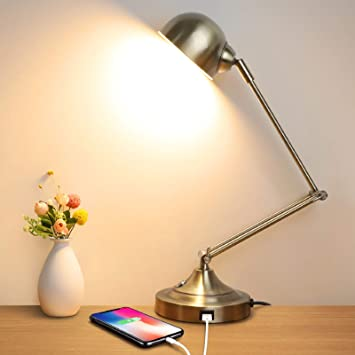 Led Desk Lamp With Usb Charging Port Swing Arm Fully Dimmable 3 Color Modes Eye Caring Task Lamp Touch Control Brass Metal Architect Drafting Table Lamp For Bedside Office Work Reading Memory