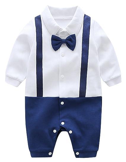 d43929d59e86 Infant Baby Boy Cotton Formal Romper Gentlemen Overalls Tuxedo ...
