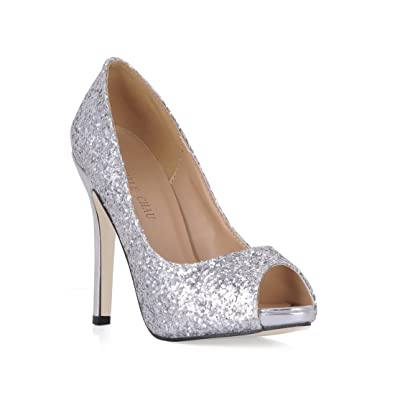 660f6904722d CHMILE CHAU Silver Glitter Bridal Women Pumps Sexy Stiletto High Heels Peep  Toe Ladies Courts Shoes