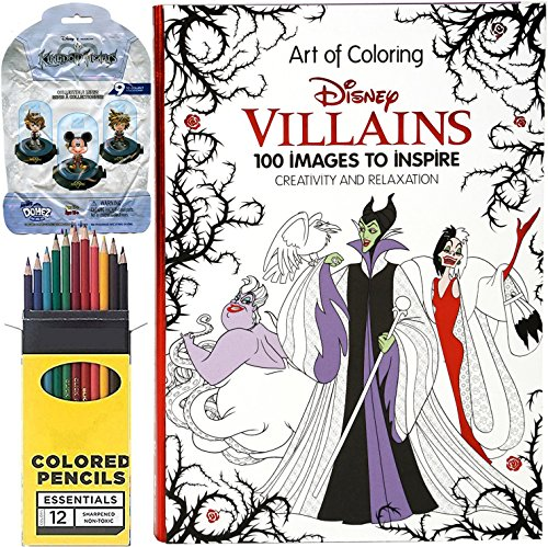 Art of Coloring Villains Hardcover Book 100 Images + Colored Pencils & Disney Mystery Blind Pack Kingdom Hearts Domez Figure Series - Hours Magic Disney World Kingdom