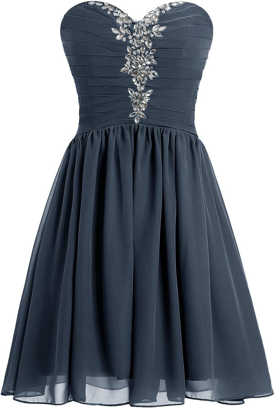 MicBridal® Kurz Chiffon Herzförmig Hinten Schnürung Kleid
