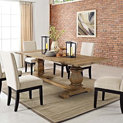 Modway Rise 73 to 103 Rustic Farmhouse Trestle Extendable Wood Kitchen and Dining Table in Brown