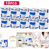 12 Rolls/Lot Roll Paper Toilet Paper 4 Layers Bathroom Toilet Kitchen Paper Tissue Cleaning Paper Wood Pulp Paper,10pcs