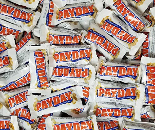 CrazyOutlet Pack - Payday, Peanut Caramel Candy Bars 0.7 Ounce Snack Size Bulk Treats, 2lbs