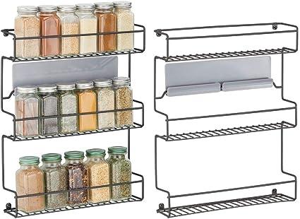 mDesign Juego de 2 especieros de cocina – Estantería metálica autoadhesiva con 3 niveles para montaje en pared – Ideal como organizador de especias ...