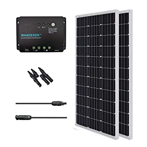 Renogy 200 Watts 12 Volts Monocrystalline Solar Bundle Kit w/ 100w Solar Panel,30A Charge Controller,9in MC4 Adaptor Kit,A pair of Branch Connectors