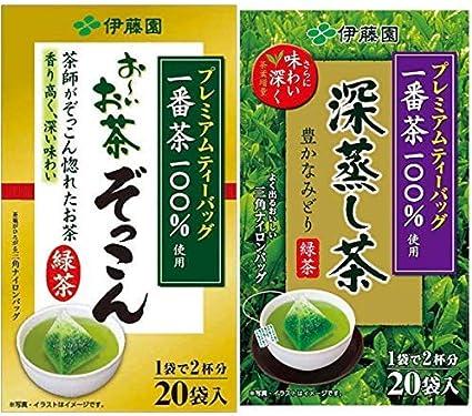 【セット買い】プレミアムティーバッグ 深蒸し茶 煎茶 20袋+おーいお茶 ぞっこん 20袋