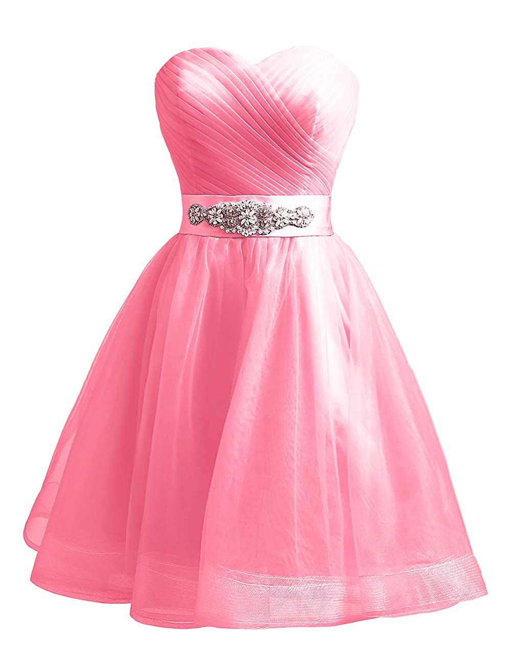 Deep Pink Uther Sweetheart Beaded ALine Homecoming Dress Short Cocktail Dress Tulle Porm Gown