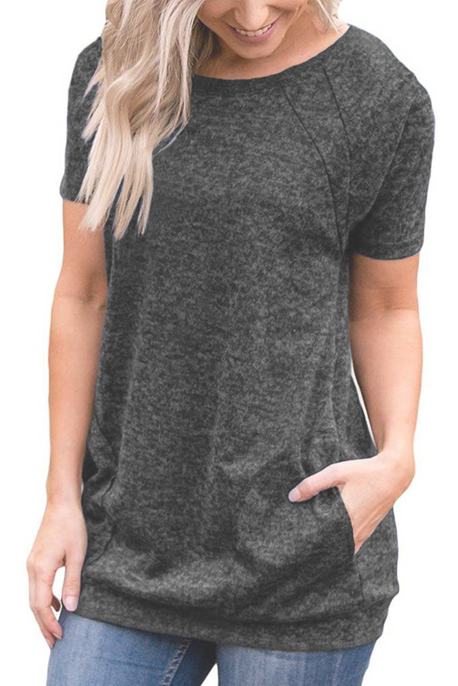WFTBDREAM Women Tops and Blouses Summer Short Sleeve T Shirts Casual Round Neck Tunic Tops with Pockets Black XL