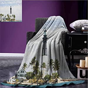 JKTOWN United States Baby Blanket Plush Lightweight Microfiber Couch Blankets All Seasons 70x93 inch Hillsboro Lighthouse Pompano Beach Florida Atlantic Ocean Palms Coast Blue White Green