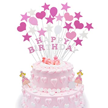1st Happy Birthday Cake Topper Pink Shower Party Decorations For Baby Girls
