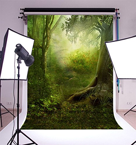 (3x5FT Laeacco Vinyl Photography Background Jungle Tropical Mysterious Forest Trees Photo Backdrop Fairy Tale Fantasy & Princess Themed Backdrop 1(w) x1.5(h) m Studio)