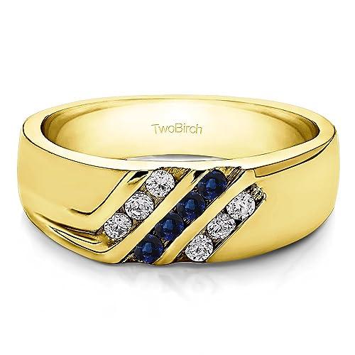 10 K Amarillo Oro Anillos de boda para hombre diamantes (G, i2) y