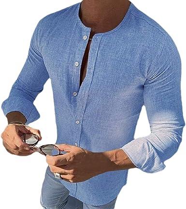 dahuo Camisa de Manga Larga para Hombre, de Lino, de algodón ...