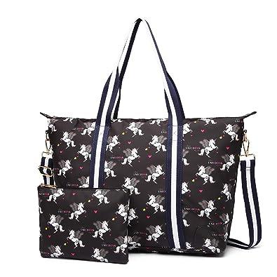 29f180d3ba12b Miss Lulu 2 Pieces Set Women Bird Flower Unicorn Matte Oilcloth Foldaway  Overnight Bag Large Light