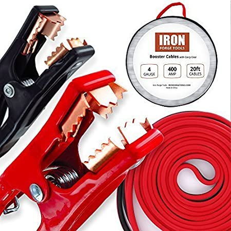 Iron Forge Tools 20 Foot Jumper Cables with Carry Bag - 4 Gauge, 400 AMP Booster Cable Kit IFT-BC04