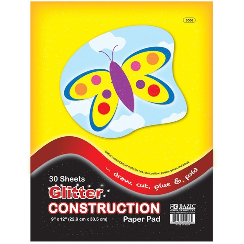 3Pk, BAZIC 30 Ct. 9 X 12 Glitter Construction Paper Pad (90 Sheets total) 4336873319