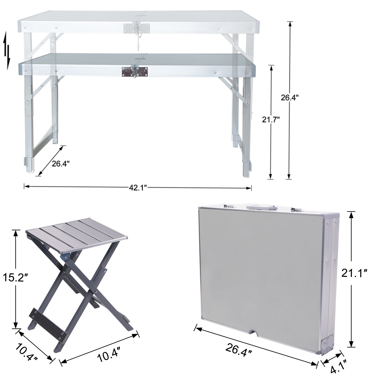 Folding Picnic Table with Umbrella Hole and 4 Folding Stools