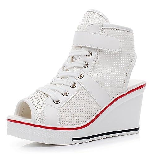 Femme chaussures de loisirs chaussures semelle compensée Sneakers argent 41 JehQf