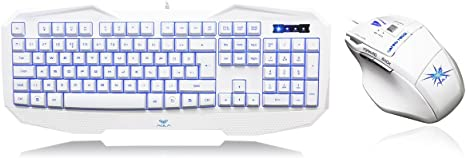 Aula 859+928 White Combo - Pack de Teclado y ratón de Gaming, Color Blanco: Amazon.es: Informática