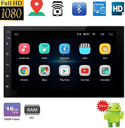 Double Din Android 10.0 System Bluetooth Car Stereo GPS Head Unit with 7 HD Touch Screen in Dash Car Radio Multimedia Player Mirror Link Support Backup Camera Input FM Radio