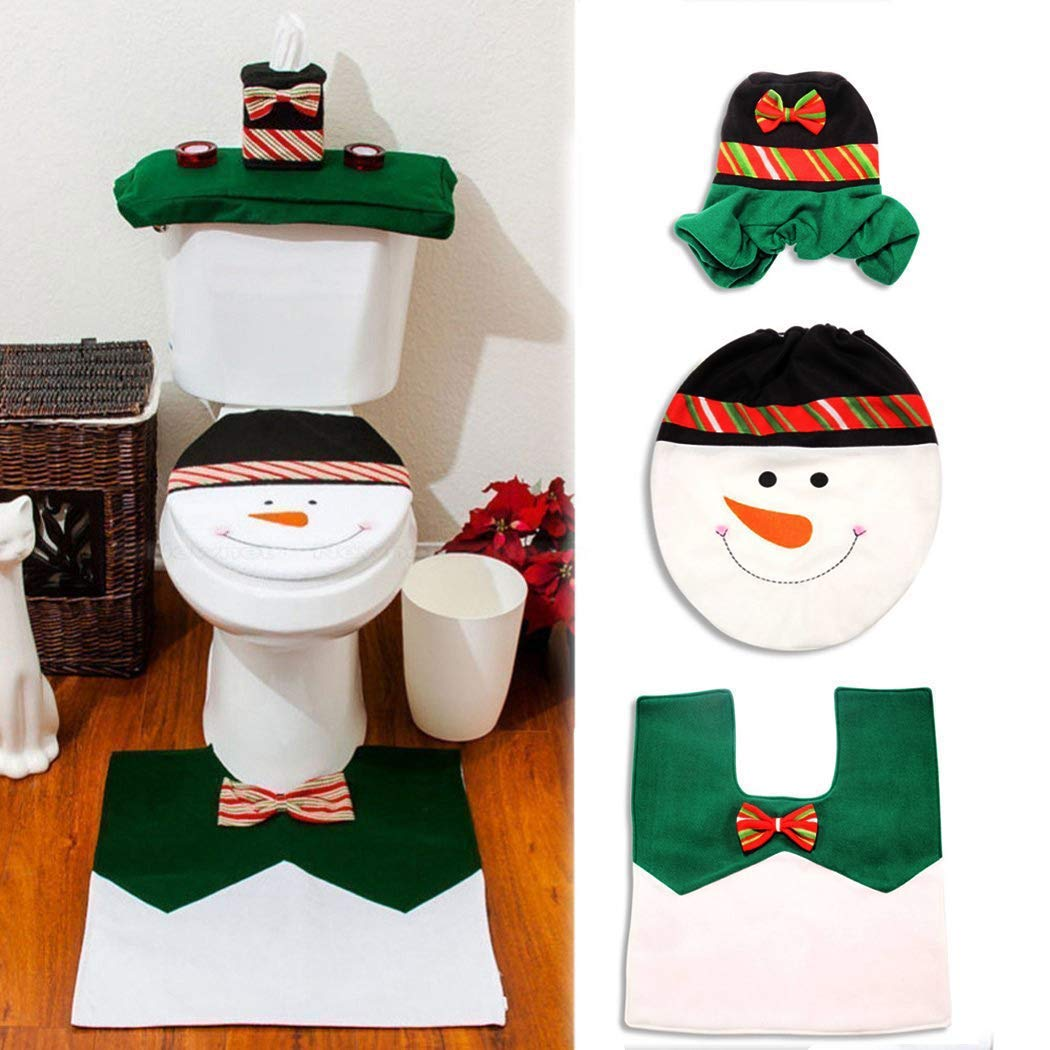 Incredible Details About Green Color Snowman Toilet Seat Cover And Foot Mat Set For Christmas Decorations Pabps2019 Chair Design Images Pabps2019Com