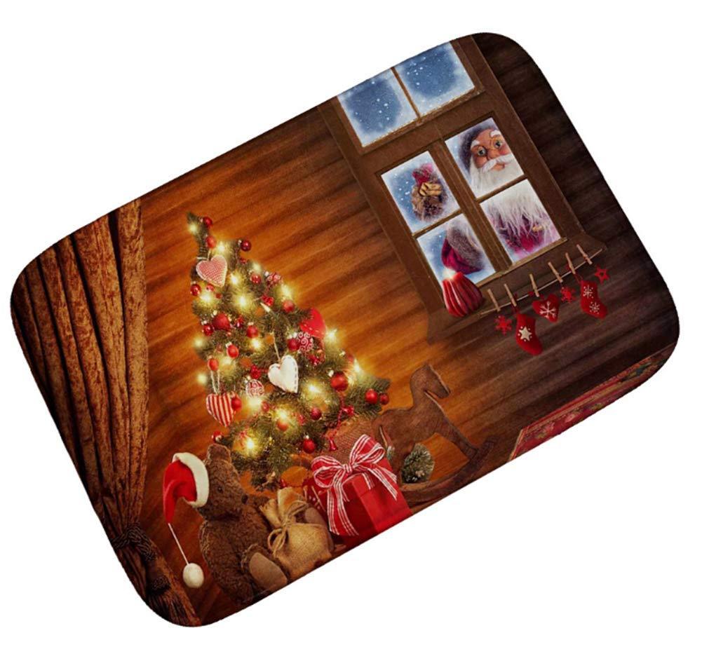 OHYESS Lovely Chic Merry Christmas Santa Claus Flannel Non-Slip Household Kitchen Bedroom Floor Mat Bathroom Area Rug Door Mat (16'*24')