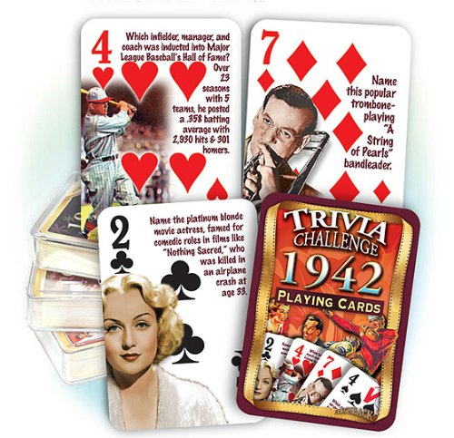 Flickback 1942 Trivia Playing Cards: 75th Birthday Gift 75th Anniversary Gift
