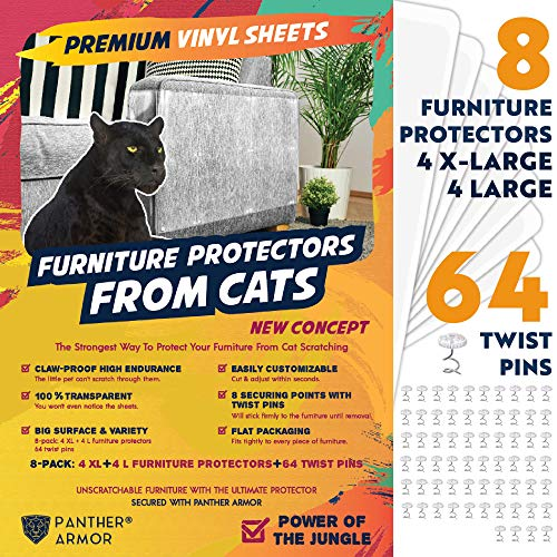 "Panther Armor Furniture Protectors from Cat Scratch - 8(Eight)-Pack - Couch Guards for Cats - 4-Pack XL 17""L 12""W + 4-Pack Large 17""L 10""W Cat Scratch Deterrent - Couch Corner Cat Scratch Repellent"